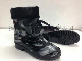 揭阳厂家供应女款黑白纹保暖雨鞋