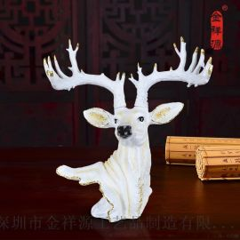 金祥源 树脂工艺品大鹿头摆件 欧式雕塑创意家居