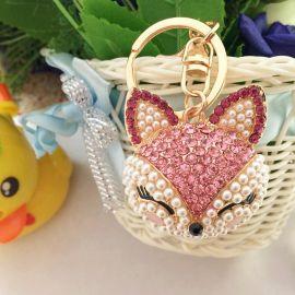 新品卡通可爱包包挂件钥匙扣毛毛球狐狸毛生日礼品背包挂饰饰品车挂件