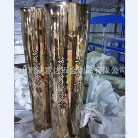 激光花纹方型不锈钢花盆 镜面玫瑰金不锈钢花盆厂家定做