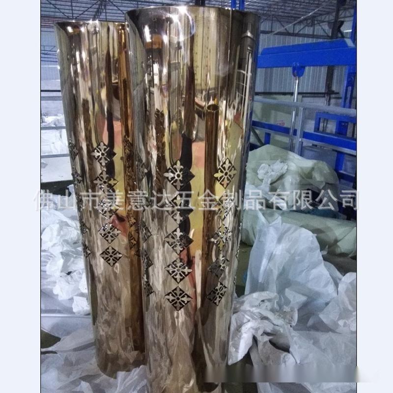 鐳射花紋方型不鏽鋼花盆 鏡面玫瑰金不鏽鋼花盆廠家定做