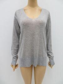 时尚女士针织毛衫,外贸原单纯色V领中长款女士毛衫