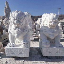 曲阳汉白玉石雕狮子 门口石头狮子雕刻厂家
