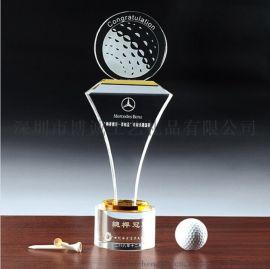 深圳厂家定制高尔夫水晶奖杯 博诚高尔夫球水晶奖牌