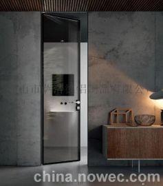 简约客厅卧室铝合金窄边钢化玻璃门