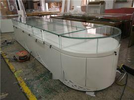 水贝珠宝展厅烤漆展示柜 深圳木制珠宝柜台制作厂家