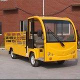 工程黃電動平板貨車 帶格柵圍欄