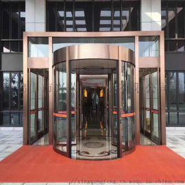 深圳不锈钢旋转门 黑钛镜面两翼自动豪华型旋转门