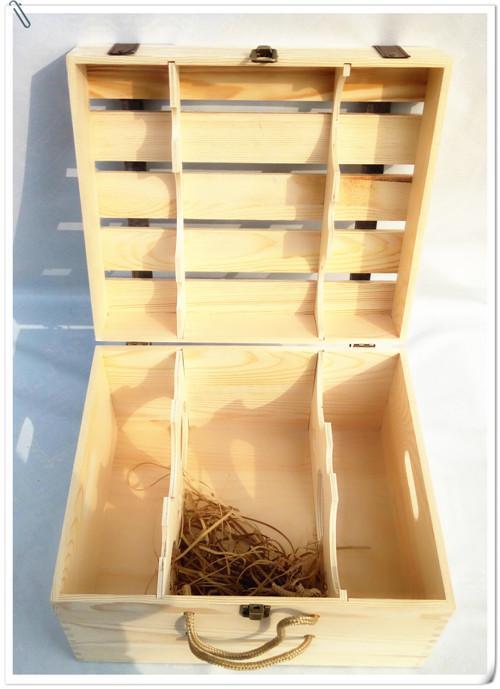 定制红酒木盒红酒箱 六支装红酒木盒子6只装红酒木箱葡萄酒礼品盒