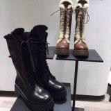 新款冬季英倫時尚綁帶馬丁靴羊皮毛一體高筒靴騎士靴