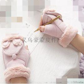 不倒绒冬季保暖防寒开车针织触屏手套