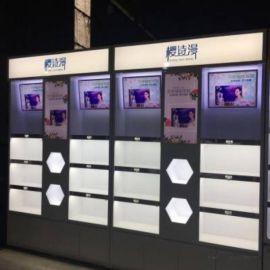 深圳铁木结合烤漆化妆品展柜定做厂家