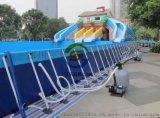 供应江苏支架水池链接充气水滑梯今年新样式