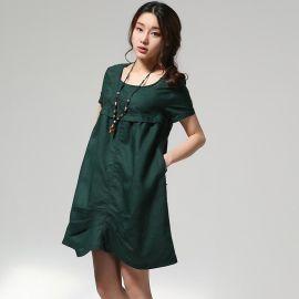 2014夏装新款文艺亚麻女装宽松大码复古短袖文艺棉麻连衣裙
