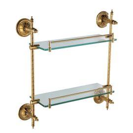 开平水口卫浴挂件 厨房洁具 玻璃化妆台架 浴室双层置物架带护栏