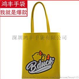 小黄鸭新款韩版外贸女包pu皮单肩手提休闲包大容量购物袋批发现货