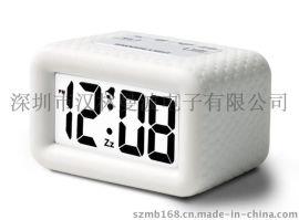 硅胶方形LED夜光闹钟 温度显示座钟 贪睡电子钟 E0736