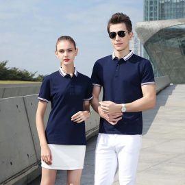 夏季T恤衫情侣装有翻领POLO男女短袖上衣半袖工作服定制印字LOGO