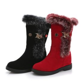 潇潇宝贝113-5 34-40码中筒雪地靴女兔毛头加绒靴内增高长靴子平底牛筋底
