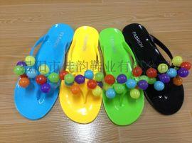 揭阳厂家供应女款葡萄颗粒水晶拖鞋