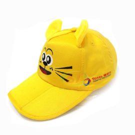 帽子工廠定製 兒童小老虎卡通logo純棉棒球帽 摺疊方便攜帶鴨舌帽