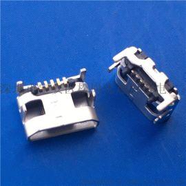 大牛角MICRO 5P 四脚插座 破板式MICRO母座 有柱直边