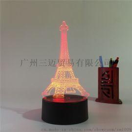 跨境货源创意七彩小夜灯3d触摸工作台灯礼品灯