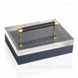藏蓝色长方形超纤皮-亚克力-合金首饰盒饰品欧式创意客厅卧室摆件