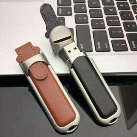鑰匙扣鋼邊皮套u盤32G 個性創意禮品優盤32G定制 印公司logo刻字