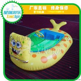 动物水上碰碰船充气卡通电瓶船亲子双人水上电动游乐水池玩具