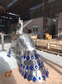 艺术动物不锈钢雕塑厂家 佛山园林景观孔雀不锈钢雕塑