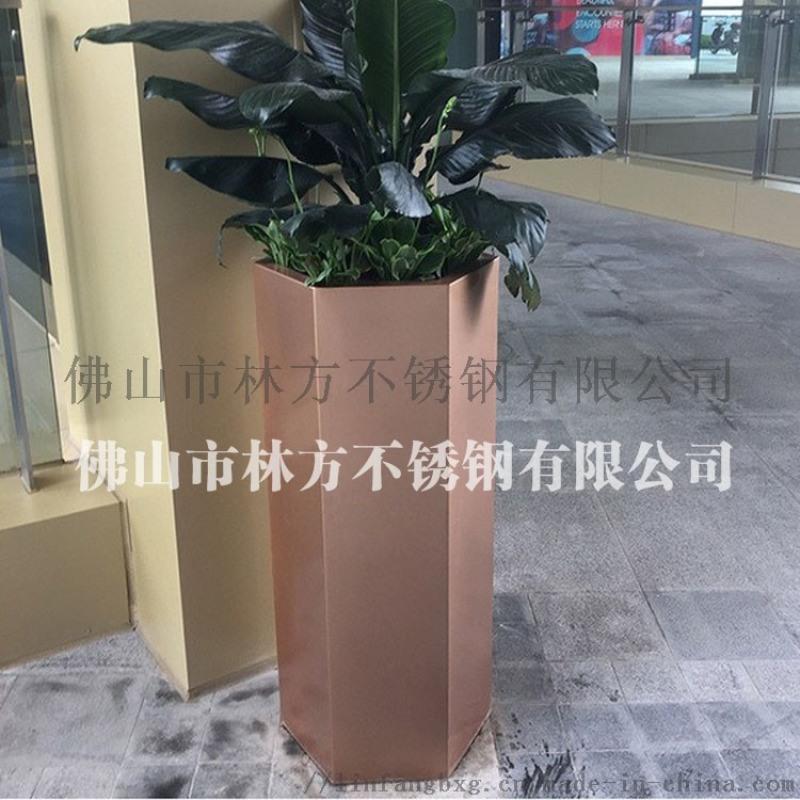拉絲玫瑰金不鏽鋼裝飾花盆 室內花盆擺件加工
