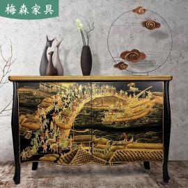 中式玄關櫃酒店餐邊櫃門廳浮雕實木櫃子裝飾櫃儲物櫃