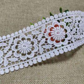 白色水溶刺绣花边双边圆圈花朵纹理牛奶丝镂空花边