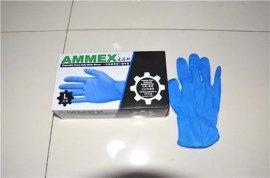 AMMEX爱马斯一次性丁腈手套无粉指尖麻正品盒耐腐蚀耐油