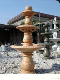 石雕喷泉 雕刻喷泉流水盆 大理石风水球喷泉