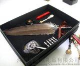 LS900-J雕羽毛蘸水笔 火漆蜡印章套装 树脂玫瑰笔座 商务礼品 收藏品 创意礼品