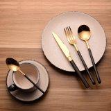 304不鏽鋼食具 創意黑金鏡光刀叉勺套裝