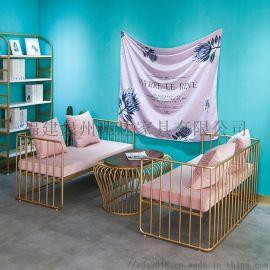 金色鐵藝卡座沙發酒吧咖啡廳奶茶店卡座沙發桌椅組合