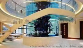 亚克力圆柱形鱼缸 鱼缸布景 生态水族箱