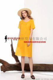 新款民族风水墨系列休闲棉麻夏装连衣裙货源