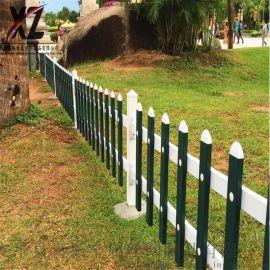 塑料草坪护栏、钢管内衬草坪栅栏、绿白花坛栅栏