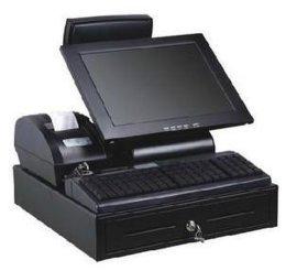触摸屏收款机GS-3020收款机 一体机(含钱箱,打印机, 键盘)