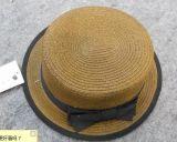 新款獨特草帽平頂女士小盆帽女士蝴蝶機小盆帽黑色包邊小盆帽女士小禮帽
