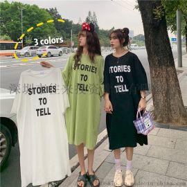 **棉 长款半袖T恤女2020夏装韩版宽松大版女士连衣裙女装