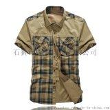 淘宝一件代发 男士短袖条纹衬衫 韩版男士衬衫 休闲男装