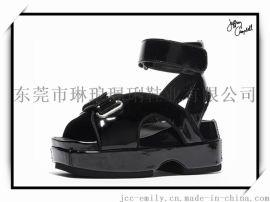 Jeffrey Campbell 26JN157松糕厚底黑色扣扣女凉鞋