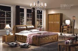 现代中式新款高低箱实木双人床 软包床头大床厂家定做直销包邮