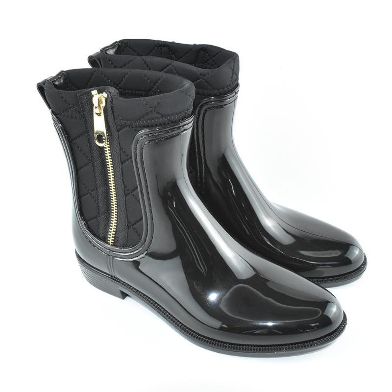 坡跟水鞋女式马丁雨靴女 弹力布拼接时尚侧拉链雨鞋女士低筒胶鞋