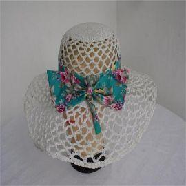 白色纸绳 钩针网眼沙滩帽